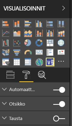 Power BI:n visualisointiruutu