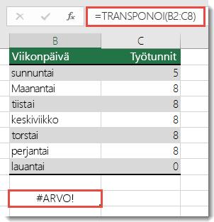 #ARVO!-virhe TRANSPONOI-funktiossa