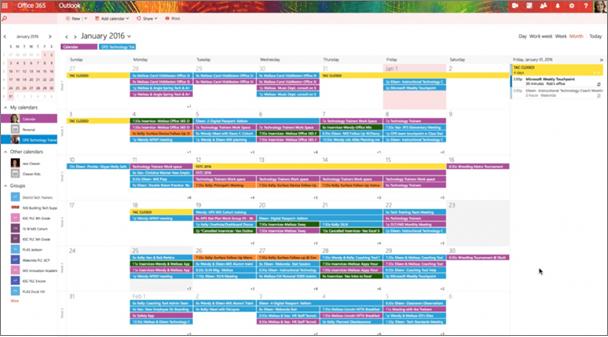 Esimerkki ryhmien kalenterista, jossa eri ryhmät on merkitty värikoodauksella