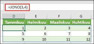Luo kolme riviä neljän sarakkeen matriisi vakiolla = järjestys (3; 4)