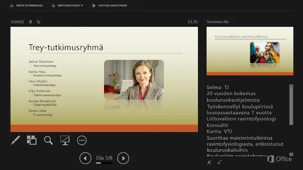 PowerPoint 2016:n Esittäjänäkymä, jossa Esittäjän muistiinpanojen ympärillä on ympyrä