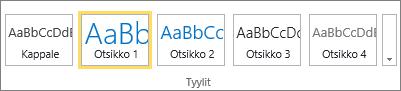 Näyttlkuva SharePoint Onlinen valintanauhan Tyylit-ryhmästä, jossa Otsikko 1 -tyyli on valittuna.