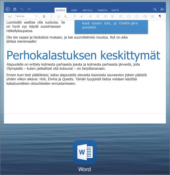 Sovelluksesta toiseen siirtyminen iPadissa