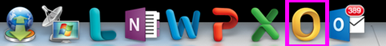 Outlook-kuvake Dockissa