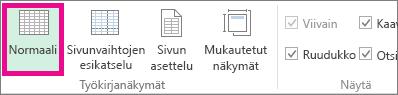 Valitse Näytä-välilehdessä Normaali.