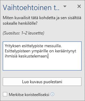 Word for Windowsin Vaihtoehtoinen teksti -valintaikkuna