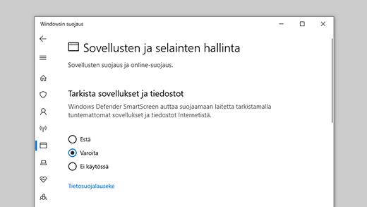 Sovellusten ja selainten hallinta Windowsin suojauksessa