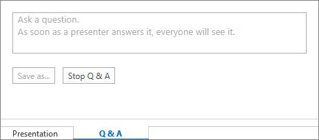 Q & A ja esityksen välilehdet