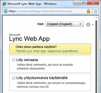 Kokouksen liittymisasetukset Lync Web App -ohjelmassa