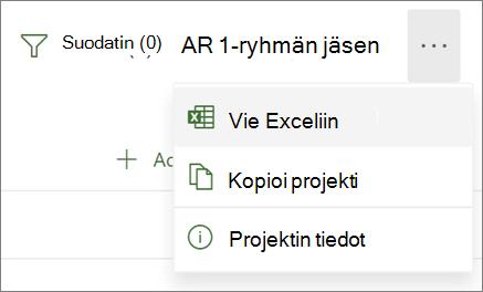 Näyttökuva Projectin verkkoversion valikosta, jossa näkyy vaihtoehto Vie Exceliin