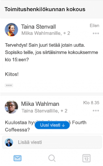Uusi keskustelukokemus Outlook for iOS:ssä