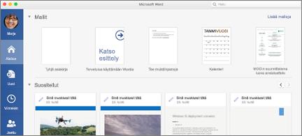 Wordin aloitus sivu, jossa näkyvät Suositellut tiedostot