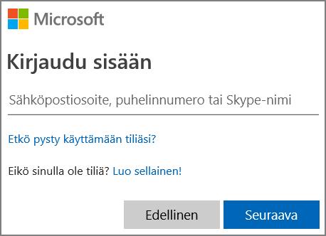 Näyttökuva Microsoft-kirjautumisesta