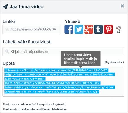 Esimerkki upotus koodin käyttämisestä sisällön upottamiseen SharePoint-sivulle