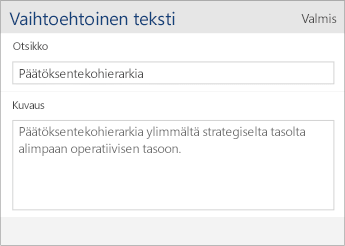 Näyttökuva Word Mobilen vaihtoehtoisen tekstin valintaikkunasta, jossa näkyvät kentät Nimi ja Kuvaus.