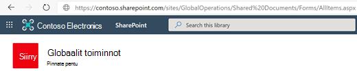 Tiedostokirjasto, jonka URL-osoite näkyy osoiterivillä.