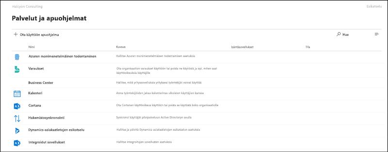 Näytön sieppaus: asetukset ja apuohjelmat-sivulla Microsoft 365: n hallintakeskuksen Preview-version.