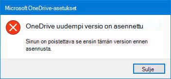 Ponnahdusikkunoiden OneDrive-virhe