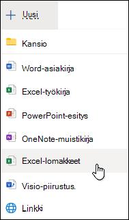 Excel-lomake-vaihtoehdon lisääminen Excel Onlinessa