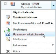 Avattava tiedostoluetteloruutu SharePoint-kirjastossa. Julkaise pääversio on korostettu.