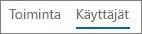 Näyttökuva Käyttäjät-näkymästä Office 365:n Yammerin toimintaraportissa