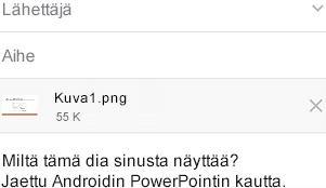Kun olet valinnut jaettavan dian, lähetä se Android-laitteen viestisovelluksesta
