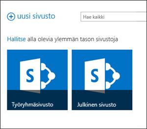 Office 365 -sivustojen sivu, jossa on näkyvissä Ryhmäsivusto- ja Julkinen sivusto -ruudut
