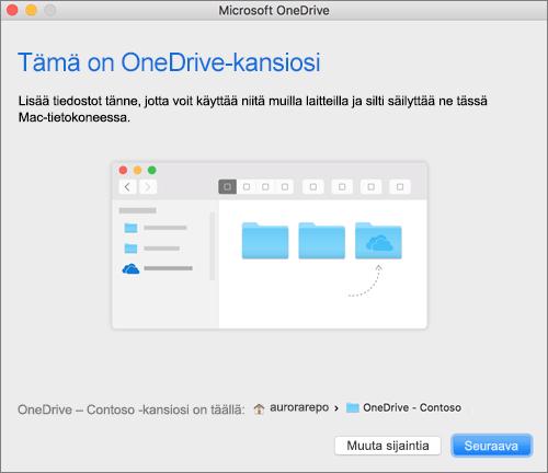 Näyttökuva Tämä on OneDrive-kansiosi -näytöstä, kun kansio on valittu Macin ohjatussa Tervetuloa OneDriveen -toiminnossa