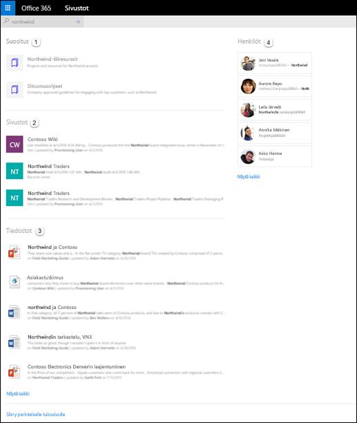 SharePoint-aloitussivun hakutulokset
