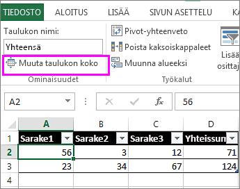 käyttämällä taulukkotyökalujen Muuta taulukon kokoa -asetusta