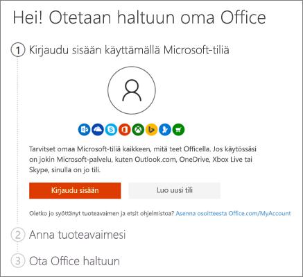 Näyttää osoitteen setup.office.com aloitussivun