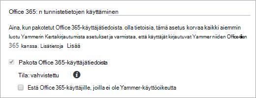 Näyttökuva valintaruudusta Estä Office 365:n käyttäjät, joilla ei ole Yammer-käyttöoikeuksia, Yammerin suojausasetuksissa