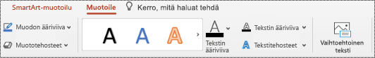 Vaihtoehtoinen teksti -painike SmartArt-grafiikan valintanauhassa PowertPoint for Macissa.