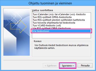 Outlookin Ohjattu vientitoiminto - Vie tiedostoon
