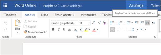 Word Online -asiakirjan nimen muuttaminen napsauttamalla otsikkoriviä
