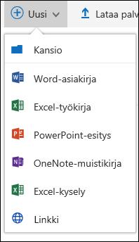 Office 365: uuden kansion tai tiedoston luominen