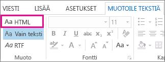 HTML-muotoiluasetus viestin Muotoile tekstiä -välilehdessä