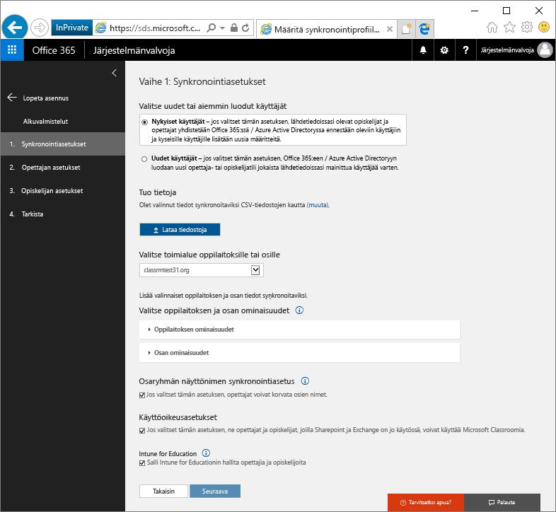 Näyttökuva Synkronointiasetukset-sivusta