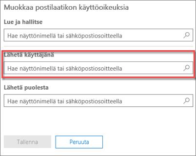 Näyttökuva: sähköpostin lähetysoikeuden antaminen toiselle käyttäjälle toisen käyttäjän nimissä