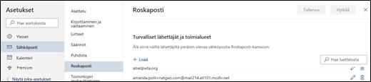 Näyttökuvassa näkyy turvallisten lähettäjien alue Outlook.comin roskapostiasetuksista.