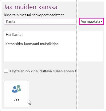 Näyttökuva Jaa-komennosta OneNote 2016:ssa.