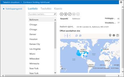 Officen Bing Maps -apusovellus Access-sovelluksessa