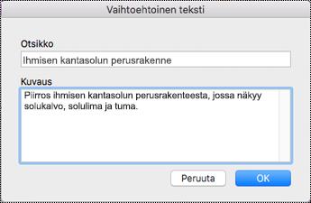 Mac Sierran Vaihtoehtoinen teksti -valintaikkuna.