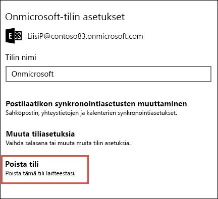 Poista tilit Sähköposti-sovelluksessa