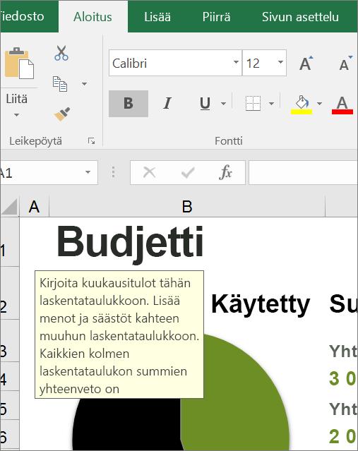 Näyttökuva Excelin käyttöliittymästä, jossa näkyy valmis ohje