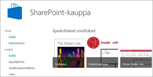 Kuva SharePoint-kaupan sovellusvalikoimasta