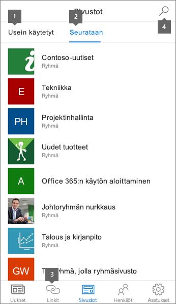 Sivustot-välilehti SharePoint-mobiilisovelluksessa iOS:lle