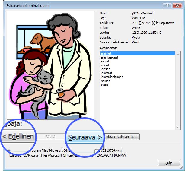 Voit selata kuvia Edellinen- ja Seuraava-painikkeilla Esikatselu/Ominaisuudet-valintaikkunassa.
