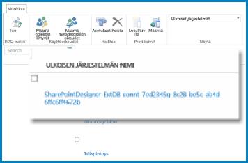 AQ-näyttökuva valintanauhasta SharePoint Onlinen yritystietopalveluissa.
