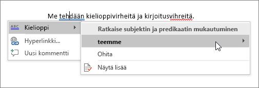 Office 365 Kieliasun tarkistusesimerkki